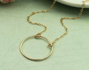 Gold Circle Necklace, Gold Filled Necklace, Dainty Gold Necklace, Simple Necklace, Gold Eternity Necklace, Everyday Necklace