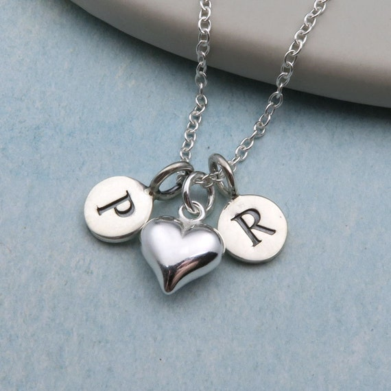 Two initial necklace sterling silver initial double initial like this item mozeypictures Images