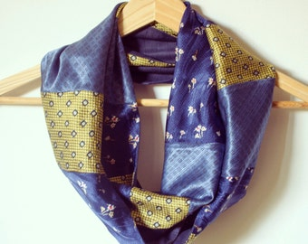 Upcycled Vintage Neckties Infinity Scarf yellow, blue and light blue.
