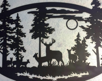 Custom Metal Large Oval Deer Scene Wall Art can be Personalized with Your Name, Address, Business Name or WELCOME Sign