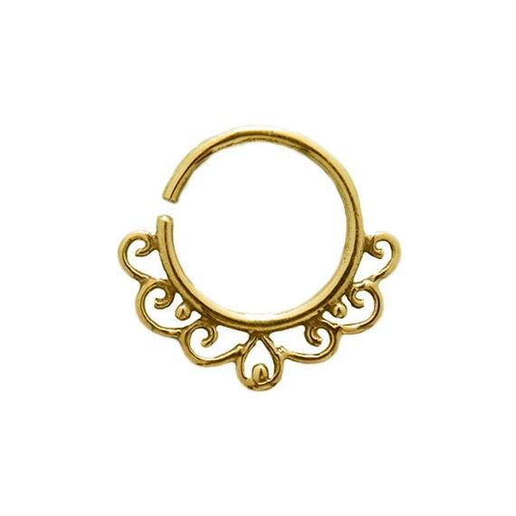 Gold tiny earring (single). tragus earring. cartilage earring. gold tribal earring. boho earring. tiny hoop earring. tiny hoops. gold hoops.