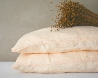 Pure linen pillow case, peach yellow pillow case, washed, softened, natural bedding, organic bedding, linen sham, wrinkled linen bedding