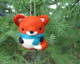Needle Felted Fox Ornament, Christmas Ornament, Felt Fox Ornament, Christmas Decoration, Felt Animals, Felt Ornament, Christmas Gift