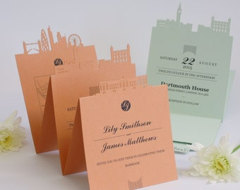 London Calling laser cut wedding invitation and RSVP set