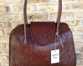 Monterrey - Handmade tooled leather handbag - Brown