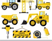 Digital Clipart - Constructions vehicles excavator truck tractor tools for Scrapbooking, Paper crafts, Cards Making, INSTANT DOWNLOAD