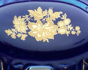 APULUM ROMANIA Lucru Manual Plate,Blue Gold Decorative Plate,Table Plate,Gold Flowers,Small Plate,Dessert Plate,Romanian Pottery