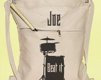Drummer Gifts Canvas Backpack Personalized Bag Backpack Drumstick Bag  Canvas Book Bag Music Bag Drum stick Bag Music Lesson Gifts Tote Bag
