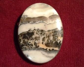 Vintage landscape agate brooch, silver frame browns grays