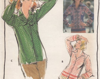Butterick 5214 Misses Blouse & Scarf Sewing Pattern - Womens Clothing Sewing Pattern - Retro Sewing Pattern - Uncut Sewing Pattern