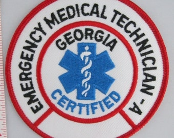 Georgia Certified Emergency Medical Technician Sew On Patch - Emergency Service Sew-On Patch - Paramedic Patch - Embroidered Applique Patch