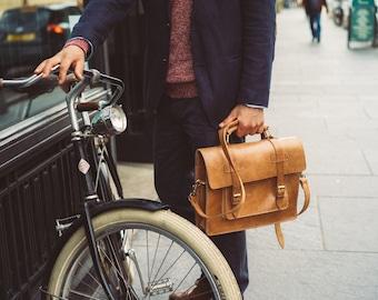 """Leather Messenger Bag, 13"""" Laptop Bag, Men's Work Bag, Full Grain, Handmade Cross-body Bag, Retro Cosmopolitan Fashion, Full Grain Leather"""