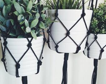 Macrame Plant Hanger, Macrame Pot Holder, Hanging Planter, Black, Grey Plant Holder, Modern Macrame, Christmas Gift for Women