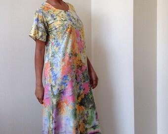 70s Vtg Lady Blair Watercolor Monet Style Floral Print House Dress - Maxi Dress