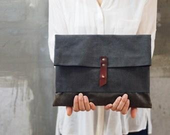 Waxed canvas fold over clutch bag