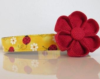 Yellow Ladybug Designer Dog Collar, Girl Dog Collar, Custom Dog Collar, Girl Dog Collar, Large Dog Collar, Small Dog Collar, Martingale