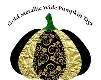 Fall Embellishments, Pumpkin Tags, Metallic Pumpkins, Black and Gold Pumpkin Tags, Instant Download, Gift Tags, Fall Decor, Halloween