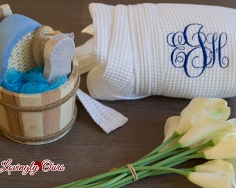 Bath Set in Wood Barrel or Wicker Basket to go with Bridesmaid Robes or as a Bridesmaids Gifts