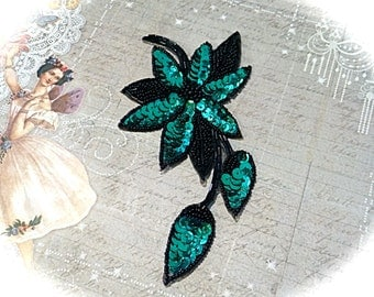 Turquoise & Black Sequined Applique Sewing Supplies Trims SE-123