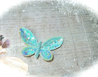 Blue Sequin Butterfly Appliques Craft Supplies Trims SE-136