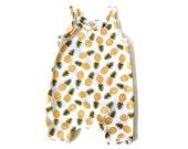 Baby Harem Romper   Pineapple Jumpsuit   Kids Jumper   Matching Top Knot Headband/Turban Available   Preemie, Newborn, Infant, Toddler, Kids