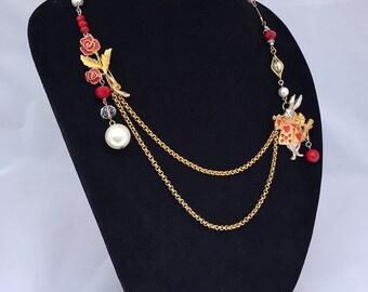 Alice in Wonderland: Assemblage Vintage Necklace