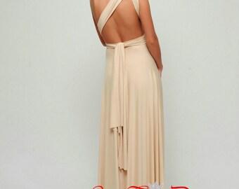 Champagne Bridesmaid dresses, Long Infinity Dress, Convertible dress, Prom Dress, Long Bridesmaid Dresses, wrap dress