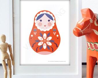 Russian Nesting Doll Folk Art Pink Doll Art print retro Russian Style Design Nursery poster orange wall Art Cute Nursery Deco