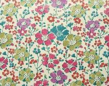 "Clarisse A Liberty Fabric tana lawn fat quarter 18"" x 26.5"" (45 cm x 67 cm) white blue turquoise purple green The Weavers Mill"