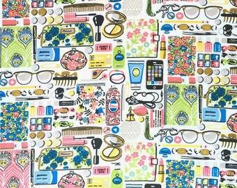 "Forgetmenots A Liberty Fabric scrap tana lawn 10"" x 10"" square (25,4 cm x 25,4 cm) white blue yellow pink green The Weavers Mill"