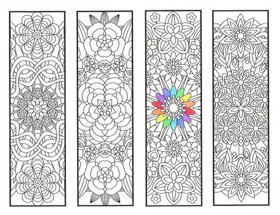 Coloring Bookmarks - Flower Mandalas Page 1 - coloring for adults, big kids and your resident bookworm - four printable bookmarks to color