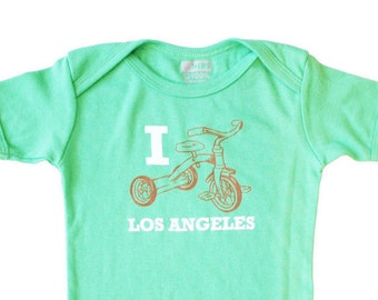 Organic Baby Onesie - I Trike Los Angeles Design - Short Sleeve One-piece