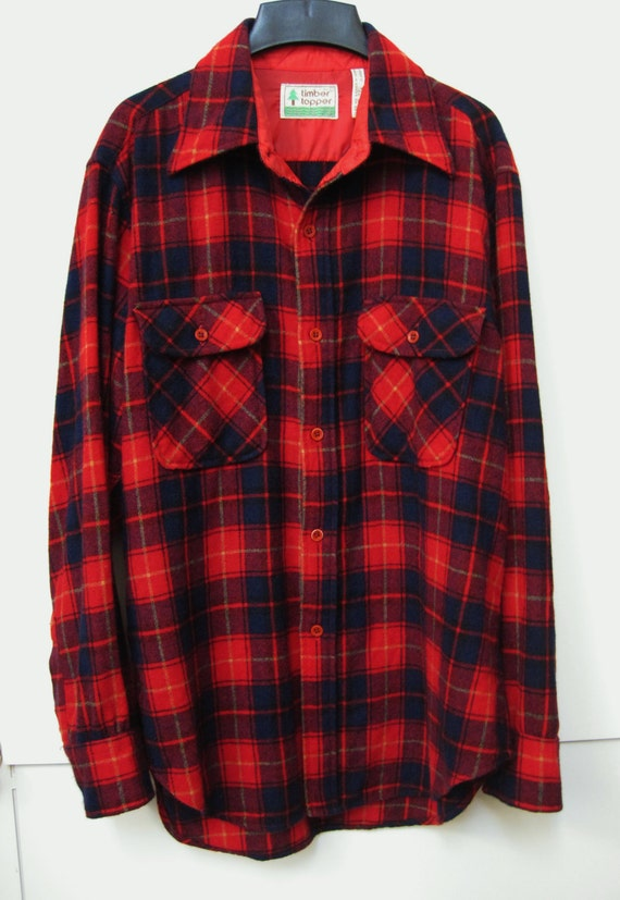 Men 39 S Wool Flannel Shirt Red Plaid Timber Topper Logger