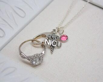 Crystal ring holder etsy free crystal nicu caduceus nurse charm ring holder necklace nurse ring saver necklace aloadofball Images