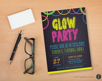 Glow Party Birthday Party Invitation