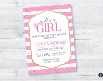 It's a Girl Pink Stripe Baby Shower Invitation