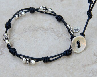 Black Leather Bracelet with Bali Sterling Silver Beads Silver and Black Bracelet Boho Leather Wrap Silver Button and Loop Closure Stacking