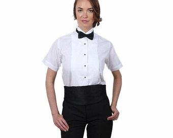 Women White Short Sleeve Tuxedo Shirt