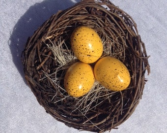 2 Birds Nest Birdsnest With Orange Eggs 3.1 Inches