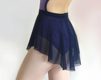 Ballet Skirt- Navy Blue Mesh Sheer Dance Skirt - Royall Dancewear SAB skirt-  Lyrical costume- Pull On skirt