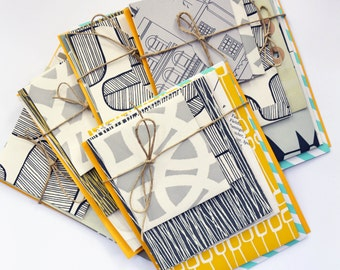 Contemporary envelope selection, Hand-made from up-cycled wallpaper