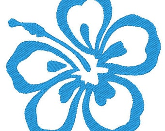 SALE Single Hawaiian Hibiscus Flower Machine Embroidery File Instant Download Tiki Luau Hawaii