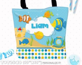 SALE Fish beach Personalized Tote Bags, custom Tote bag, kids tote, school tote, kindergarten tote, beach tote bag, ocean Tote Bags TB104