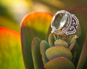 Faceted Green Amethyst Ring with Filigree Sterling Silver Setting