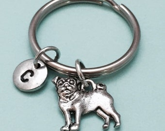 Pug keychain, pug charm, dog keychain, dog charm, animal keychain, personalized keychain, initial keychain, customized, monogram
