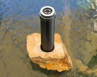 Vape Stand Vape Mod Holder Rugged Stone Petrified Wood E-cigarette Vape Mod Holder OOAK Vaping Gift Rock Mod Stand