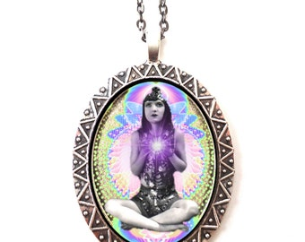 Gypsy Boho Occult Necklace Pendant Psychedelic Visionary Pop Art - Festival Art Spiritual Metaphysical Hippie - Occult New Age Cosmic Energy