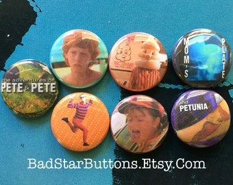 The Adventures of Pete and Pete Button Set, Nickelodeon, Artie, Petunia, Polaris, Big Pete, Little Pete, Tattoo,