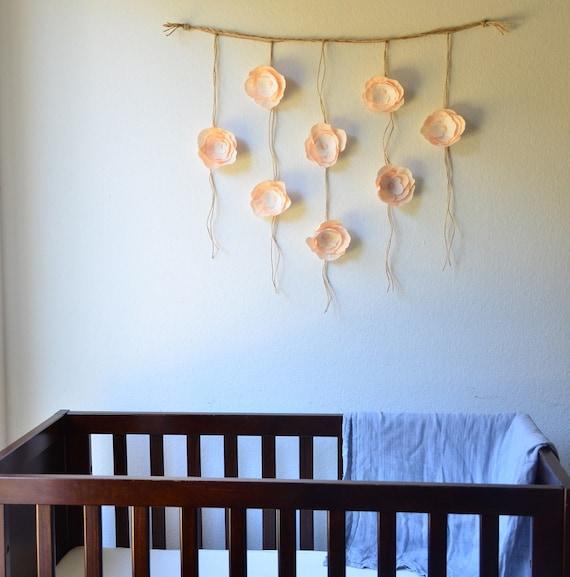 Boho Paper Flower Wall Hanging Nursery Wall By Sophiaandroseco