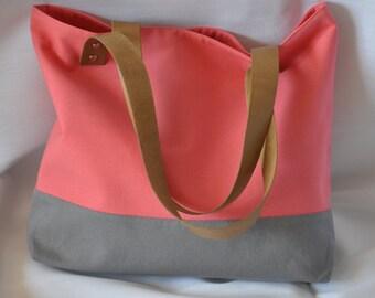Coral  and Grey Bag, Beach Bag, Summer Tote, Hand Bag, Shoulder bag, Cotton Bag, Genuine Leather Handles  Bag